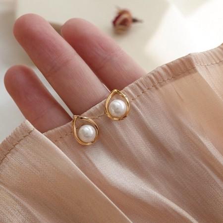 新品S925 韓國水滴珍珠耳環