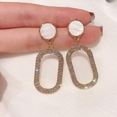 新品 韓國S925名媛風幾何耳環