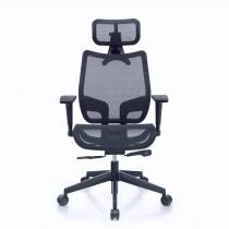 恰恰人體工學網椅附頭枕 - 酷黑