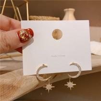 韓國925銀芒星月亮耳環