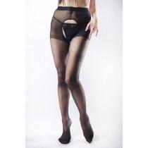 Q SHOP  大腿褲襪  【女神降臨】【黑色】【含蕾絲丁字褲】